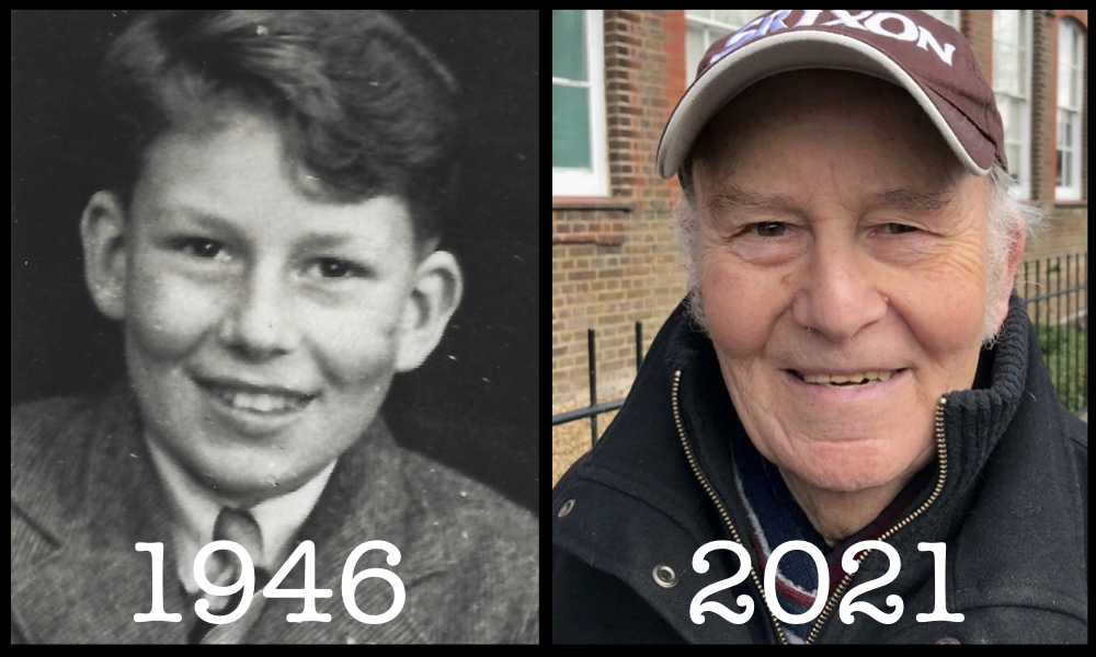 Photo of Alan Dart as a boy in 1946 and as an older person in 2021.
