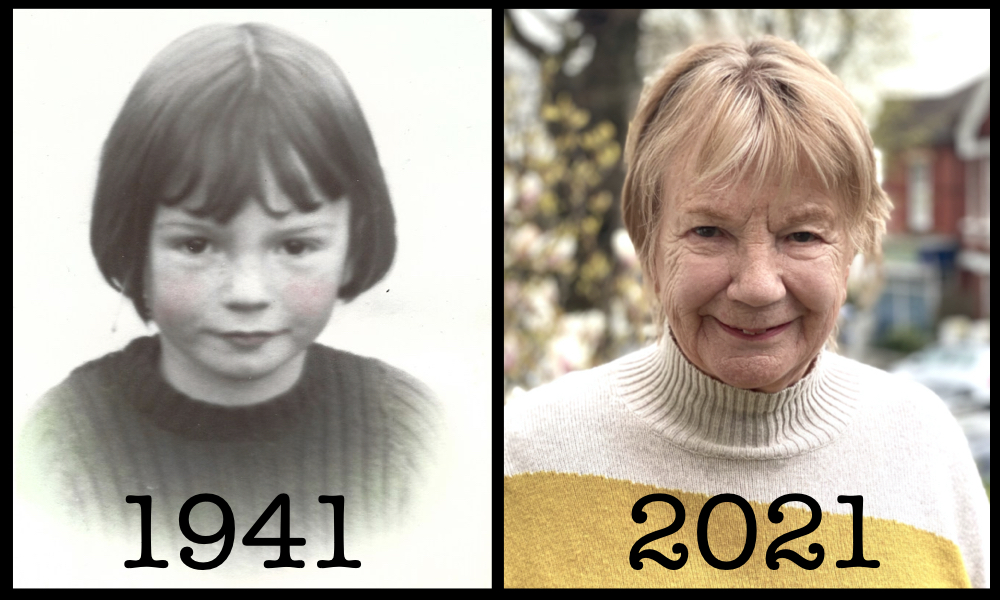 Photograph of Ann Ellis as a girl in 1941 and as an older person in 2021.