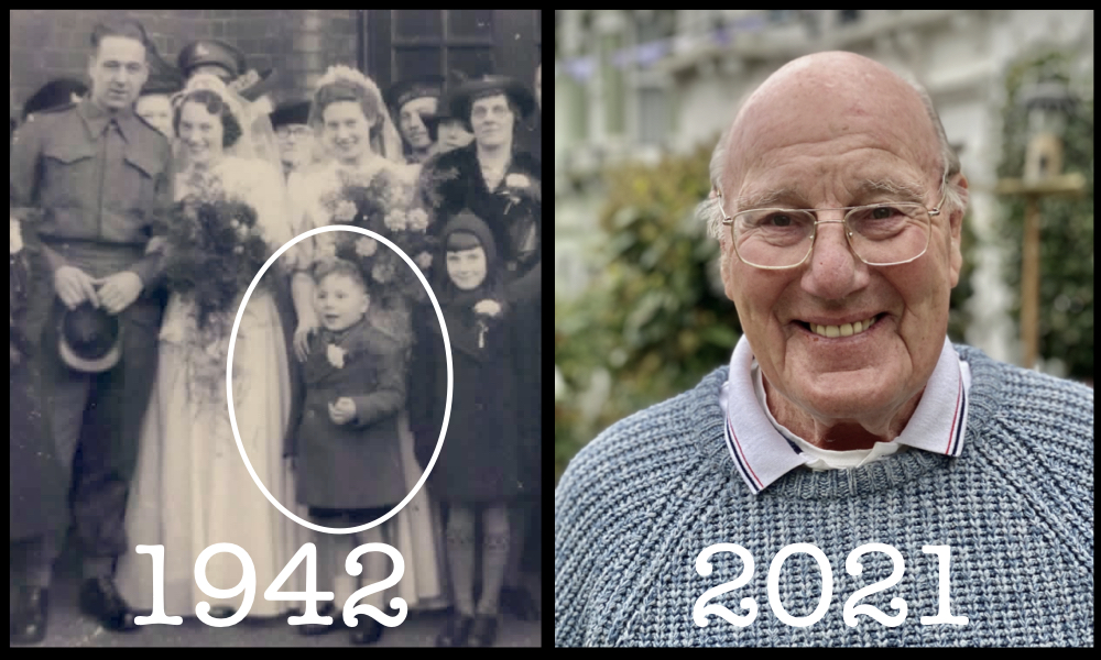 Photo of David Pierce as a boy in 1942 and as an older person in 2021.